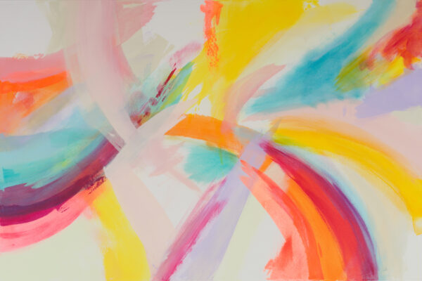 An abstract painting composed of swirling yellow, orange, turquoise and pale pink forms