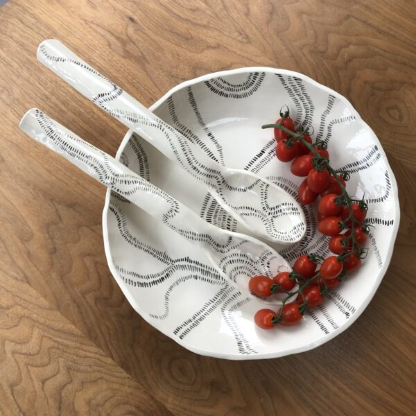 Platter and serving spoons