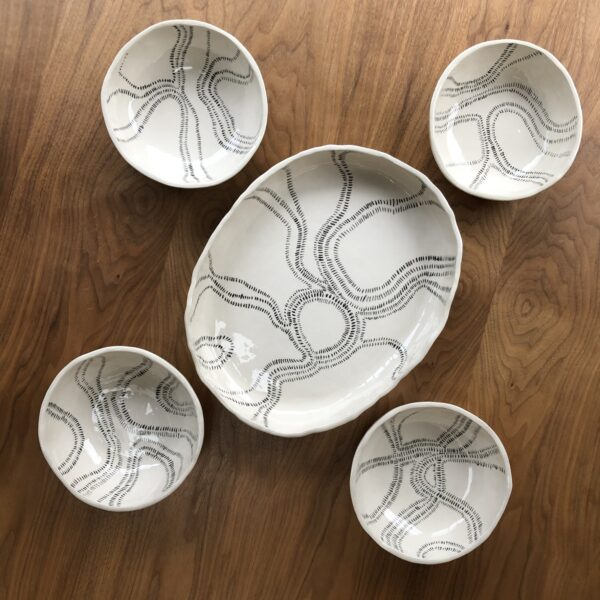 Oval dish and bowls