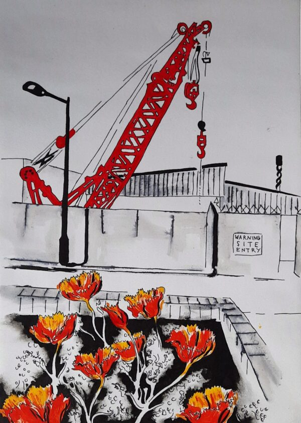 Red Crane and Marigolds