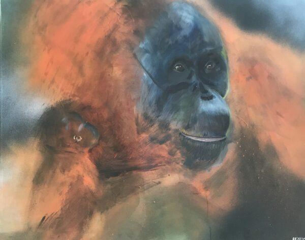 Mother and child- orangutan
