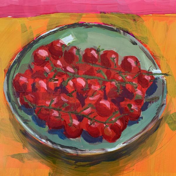 Cherry Tomatoes in Grey/Green Cornish Bowl