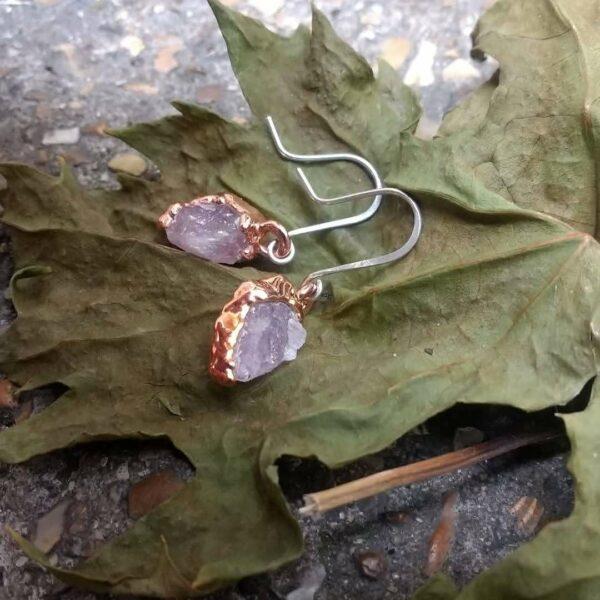 Rose Quartz Dangle Earrings on Sterling Silver Drop Earrings