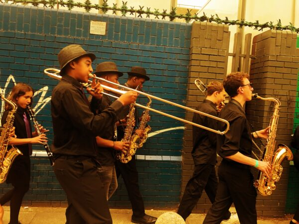 Performing New Orleans second line