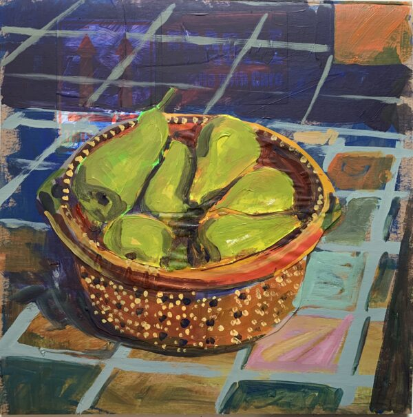 Pears in Decorated Mexican Bowl