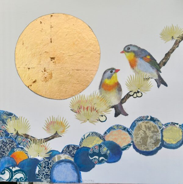Pair of Japanese Nightingales and Gold Moon