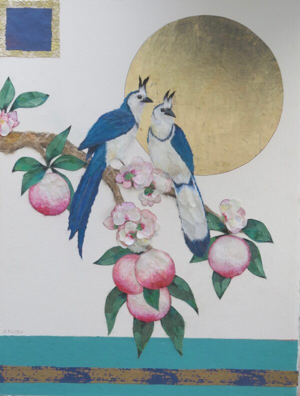 Two White Throated Magpies with Peaches and Gold Moon