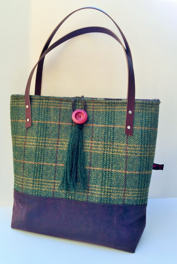 Aubergine and green tweed and leather
