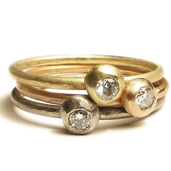 Gold stacking diamond rings