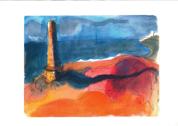 Drawing and walking - Chimney stack, West Penwith