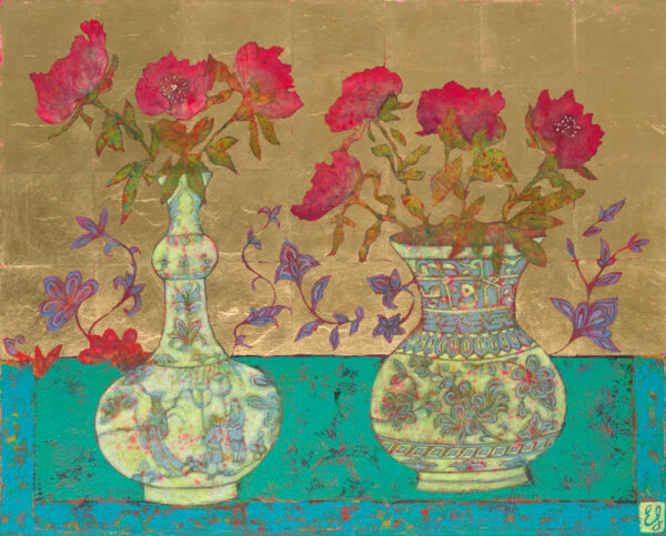 Peonies with Chinese Flask and Iznik Vase