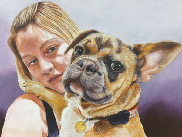 Girl and Frenchie